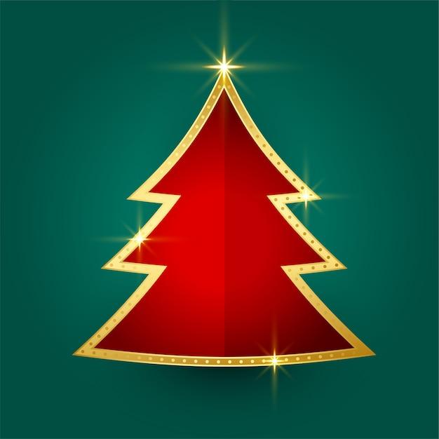 Красивая золотая блестящая новогодняя открытка с елкой Бесплатные векторы