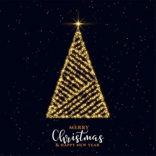 Beautiful golden sparkle christmas tree festival card design Free Vector