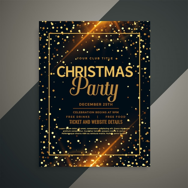 Beautiful golden sparkles christmas flyer template Free Vector