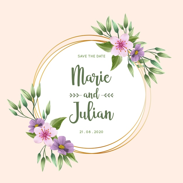Beautiful golden wedding floral frame Free Vector