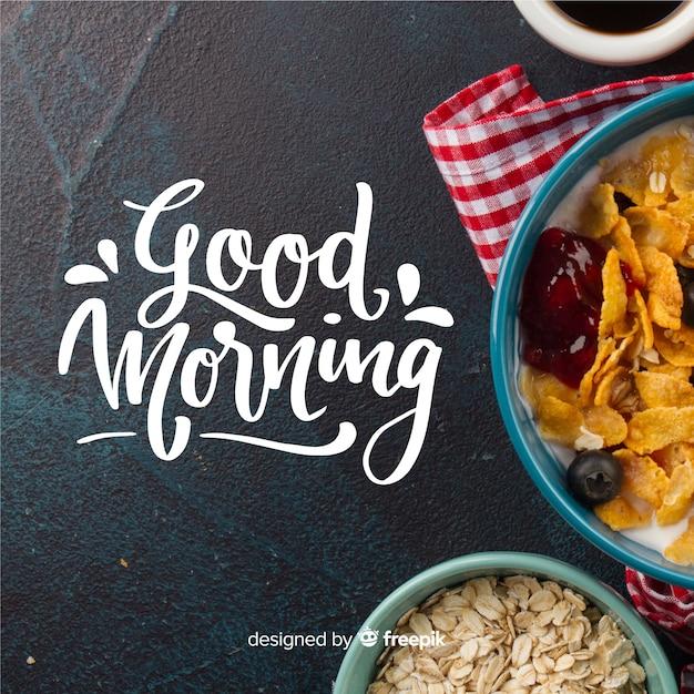 Красивый фон надписи доброе утро Бесплатные векторы