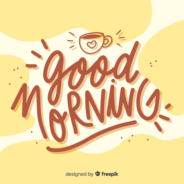 Beautiful good morning lettering background Free Vector