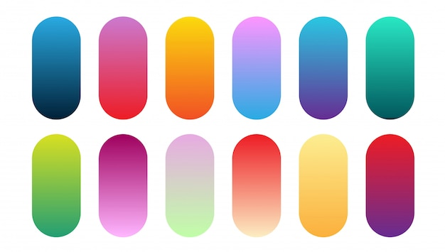 Beautiful gradient collection. multicolor green purple yellow orange pink cyan circle gradients, colorful soft round buttons vector set Premium Vector
