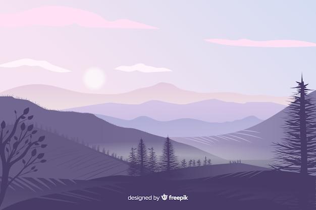 Beautiful gradient mountains landscape Free Vector