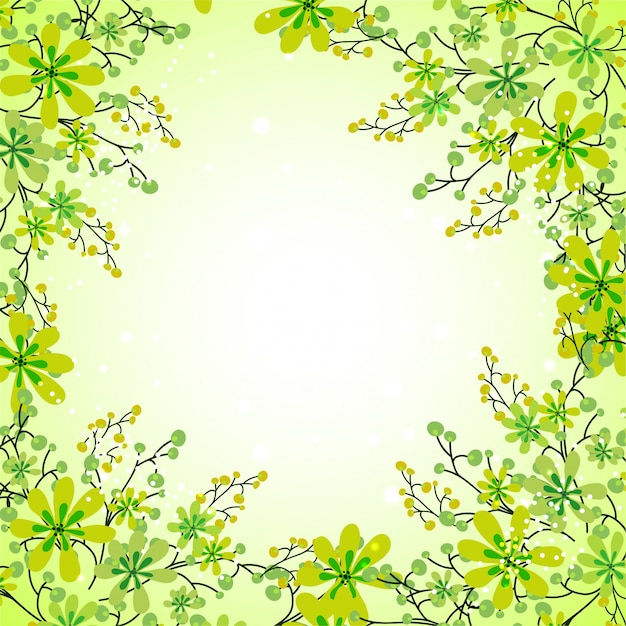 Beautiful green flowers decorated background\ for Nature concept.
