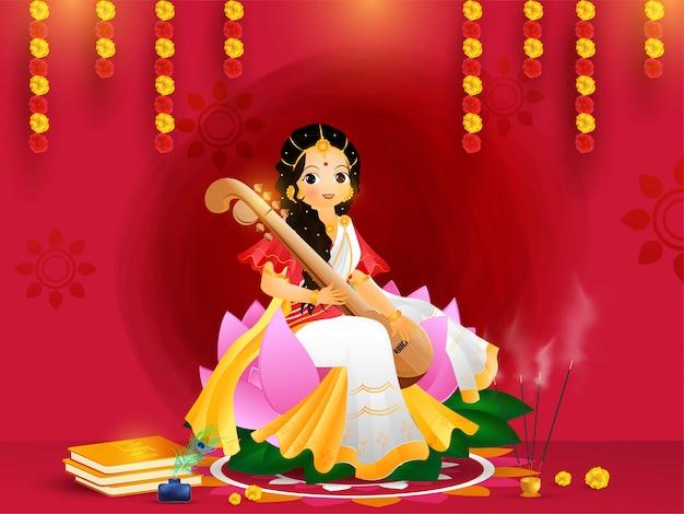 Beautiful greeting card design with goddess saraswati character Premium Vector