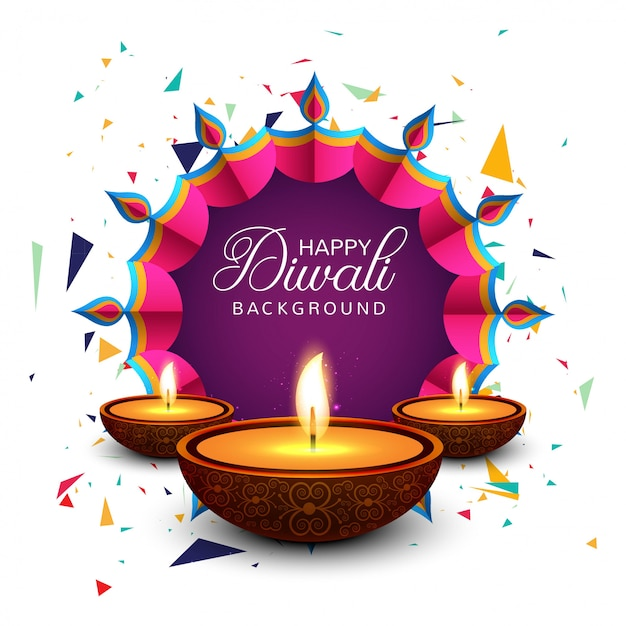 Beautiful greeting card for festival happy diwali background vector Free Vector