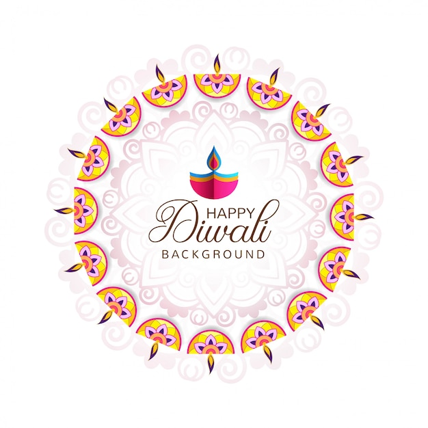 Beautiful greeting card for festival happy diwali background Free Vector