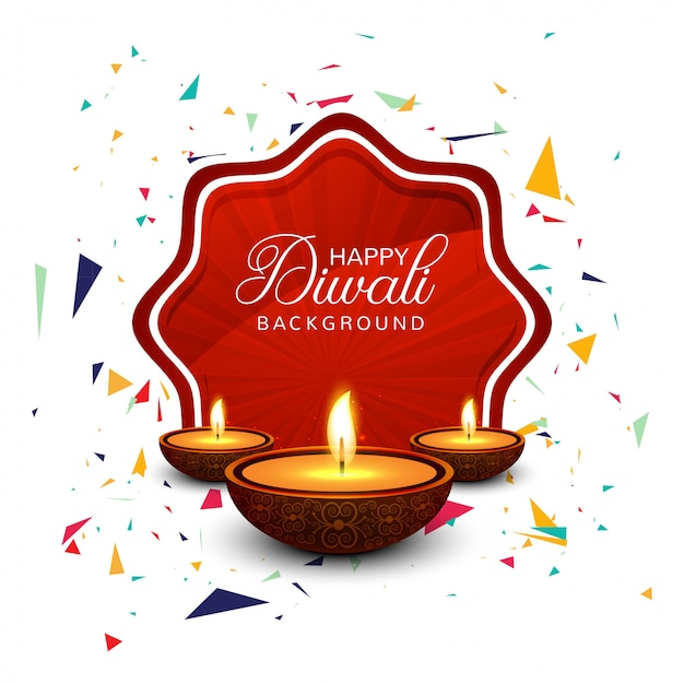 Beautiful greeting card for festival happy diwali Free Vector