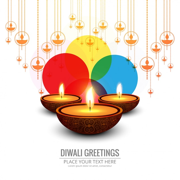 Beautiful greeting card for festival happy\ diwali background