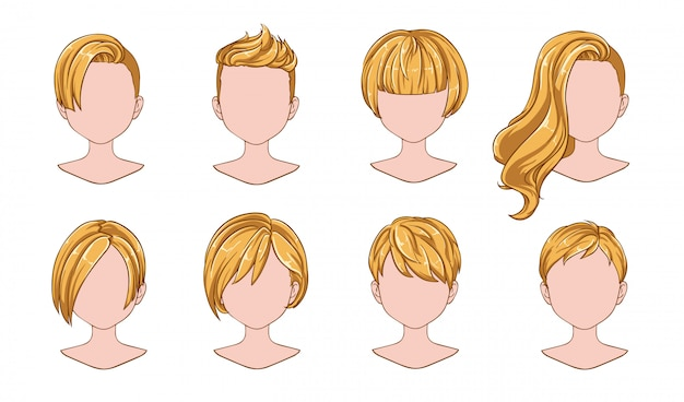 Beautiful hairstyle woman collection Premium Vector