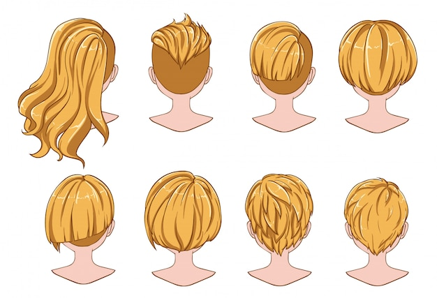 Beautiful hairstyle of woman hair collection Premium Vector