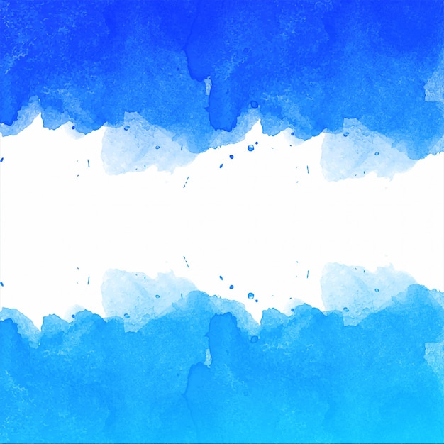 Beautiful hand draw blue watercolor background Free Vector