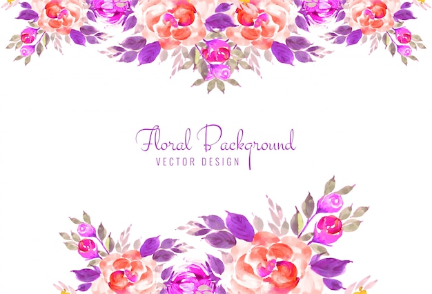 Beautiful hand draw decorative floral wedding card background Free Vector