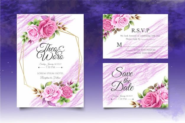 花の結婚式の招待状のテンプレートを描く美しい手描き Premiumベクター