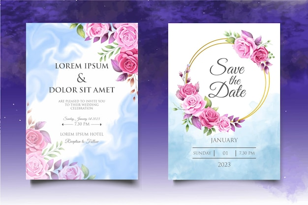 Beautiful hand drawing floral wedding invitation template