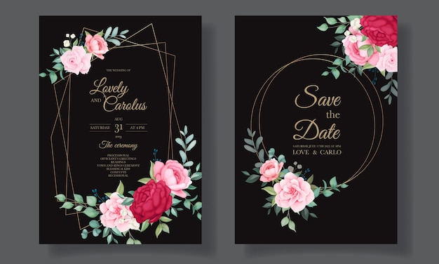 美しい手描きの結婚式の招待状花カードテンプレート 無料ベクター