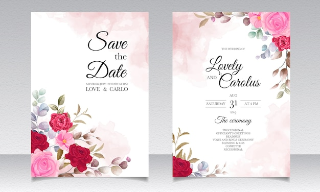 Beautiful hand drawing wedding invitation floral design Free Vector