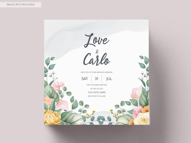 Beautiful hand drawing wedding invitation floral design Free Vector