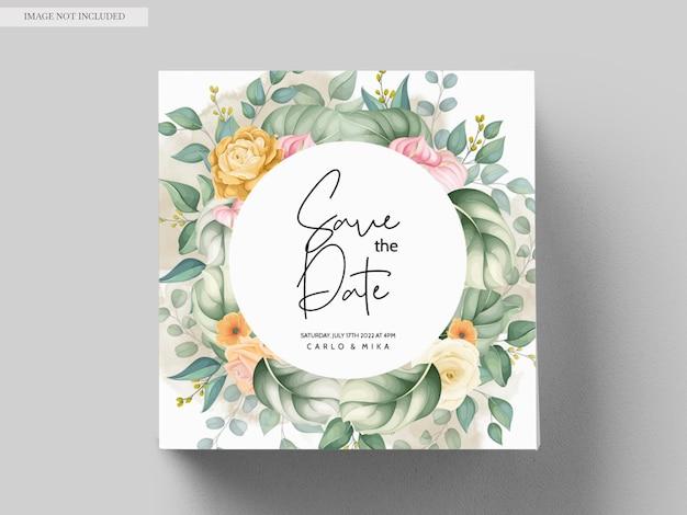 美しい手描きの結婚式の招待状の花柄 無料ベクター