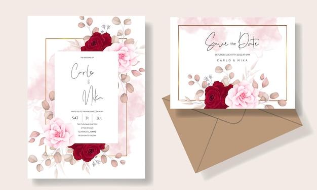 美しい手描きの結婚式の招待状栗色の花柄 無料ベクター