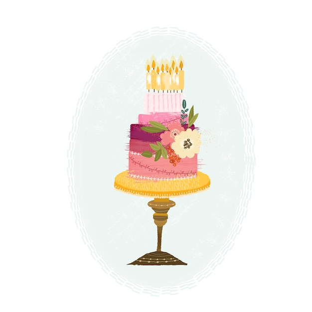 Beautiful hand drawn birthday cake Vector Free Download