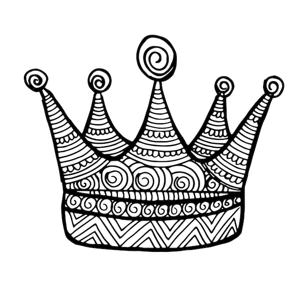 Beautiful Hand Drawn Black and white Crown Free Vector