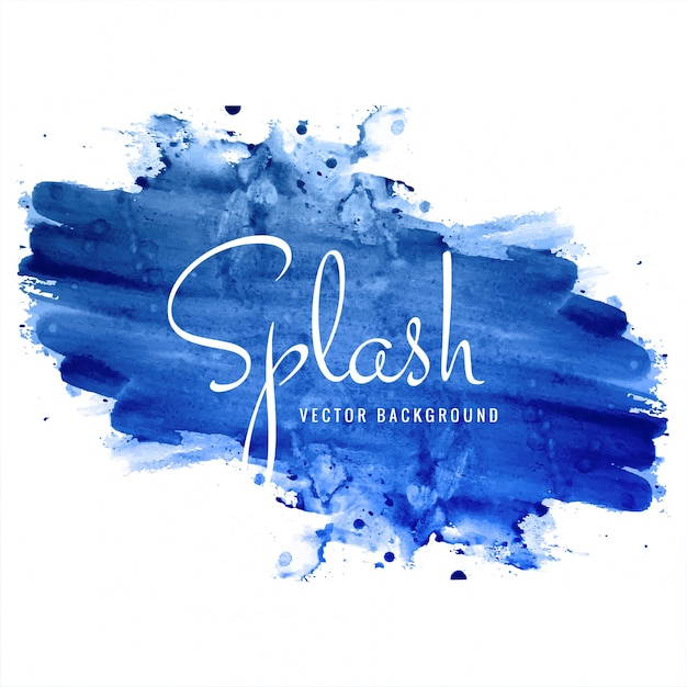 Beautiful hand drawn blue watercolor splash background Free Vector