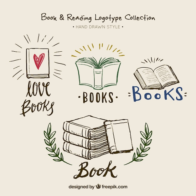 Beautiful hand-drawn book logotypes Free Vector