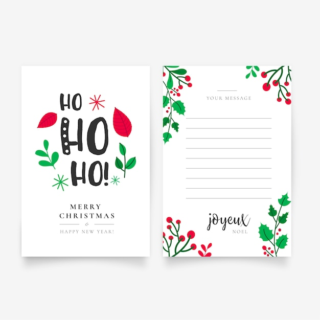 Beautiful Hand Drawn Christmas Letter Template Free Vector