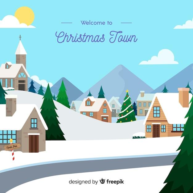 Beautiful hand drawn christmas town Free Vector