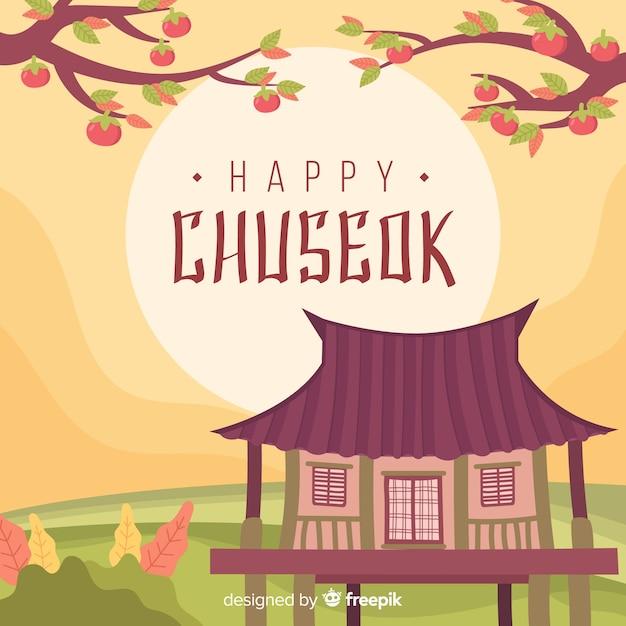 Beautiful hand drawn chuseok background Free Vector