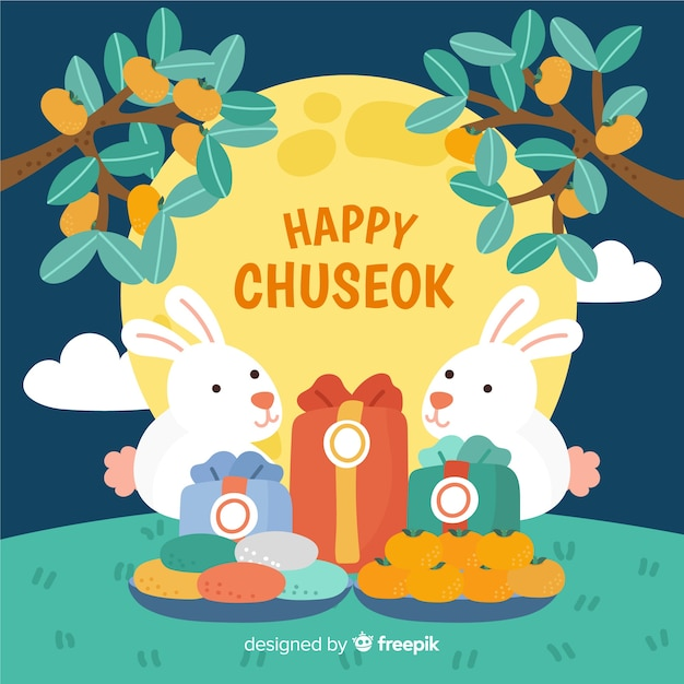 Beautiful hand drawn chuseok background Free Vector