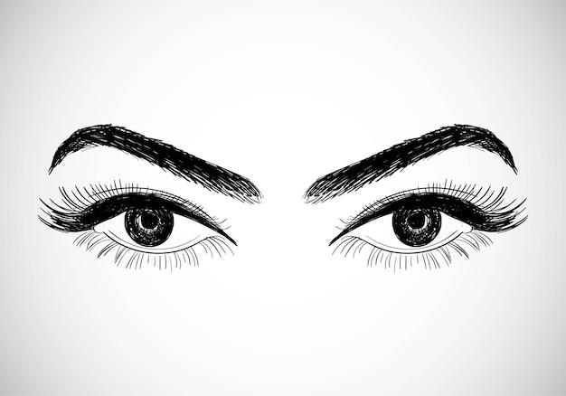 美しい手描きの目のスケッチデザイン 無料ベクター