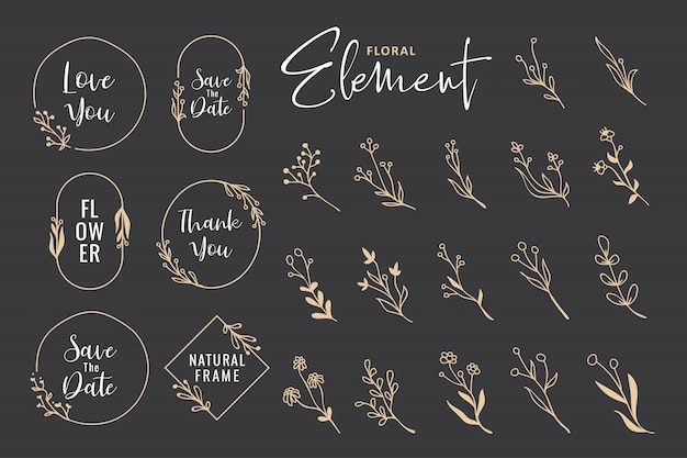 Beautiful hand drawn floral wreath collection Premium Vector