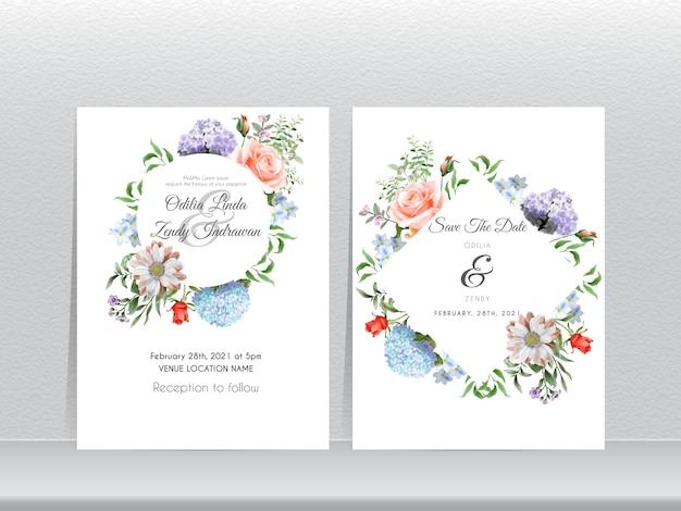 美しい手描きのアジサイの結婚式の招待カードセット Premiumベクター