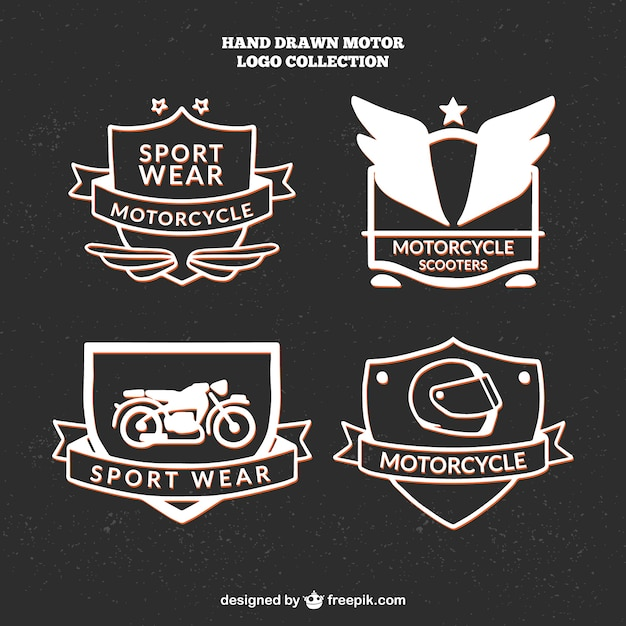 Beautiful hand drawn logos for motorcycle\ club