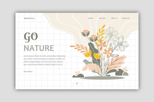 Beautiful hand drawn nature landing page Free Vector