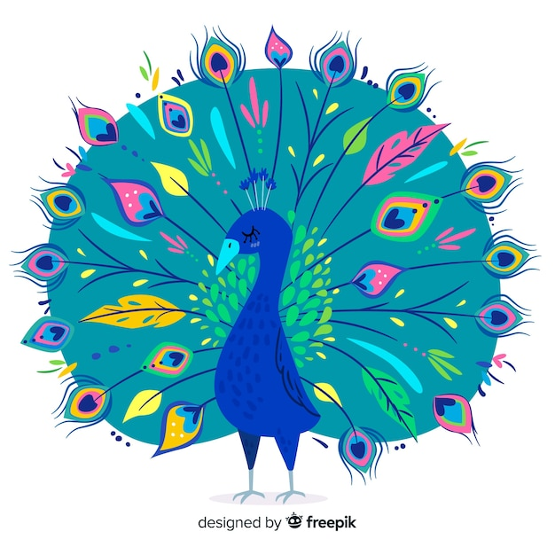 Beautiful hand drawn peacock Free Vector