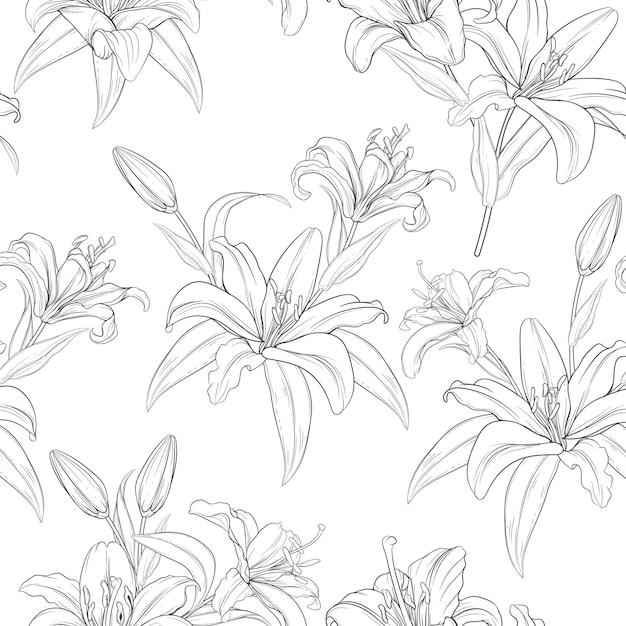 美しい手描きのシームレスなパターンのユリの花 無料ベクター