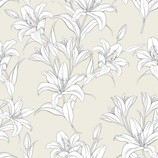 Beautiful hand drawn seamless pattern lily flowers Free Vector