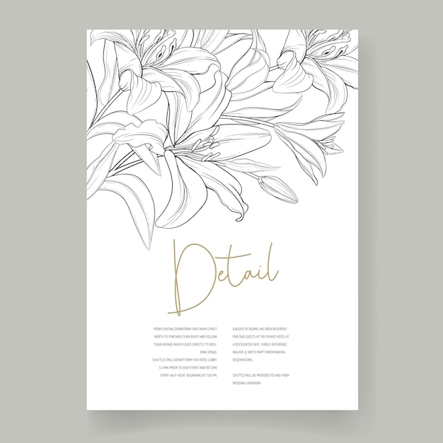 Beautiful hand drawn wedding card lily flowers Free Vector