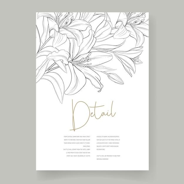 美しい手描きのウェディングカードユリの花 無料ベクター