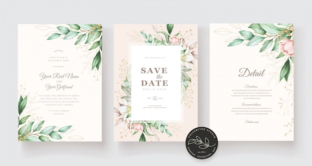 Beautiful hand drawn wedding card template Free Vector