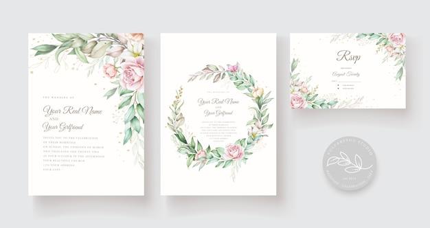 Красивая рука нарисованные свадебные карточки шаблон Бесплатные векторы