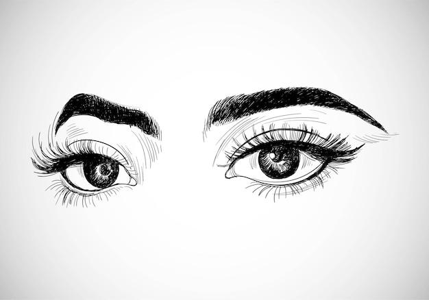 美しい手描きの女性の目のスケッチデザイン 無料ベクター