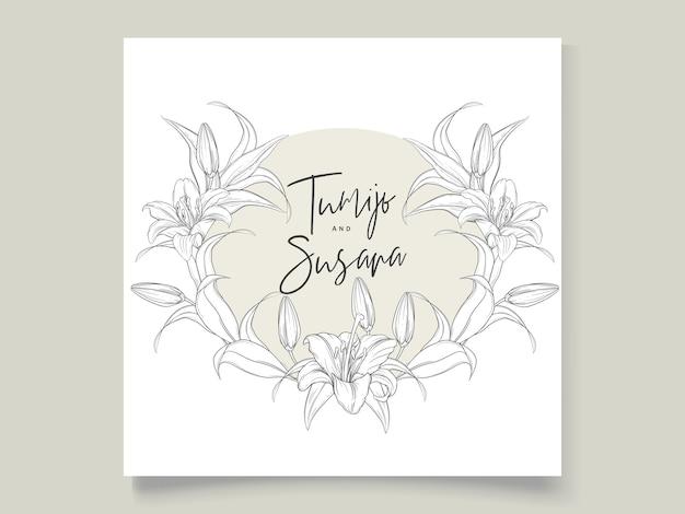 美しい手描きの花輪ユリの花 無料ベクター