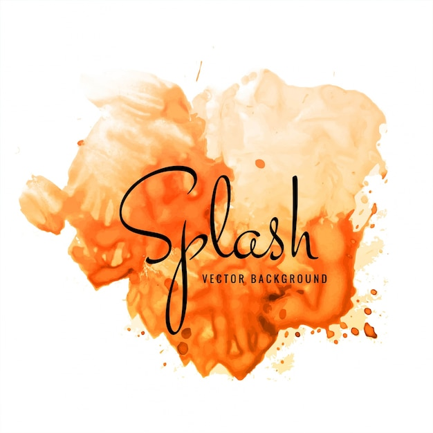 Beautiful hand paint watercolor orange splash on white background Free Vector