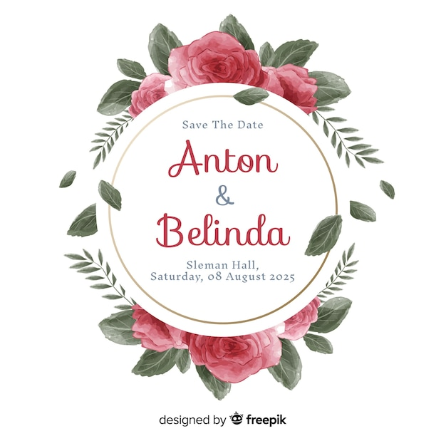 Beautiful hand painted floral frame wedding invitation Free Vector