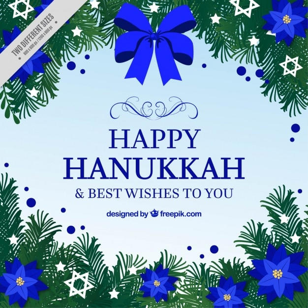 Beautiful hanukkah background with blue\ flowers